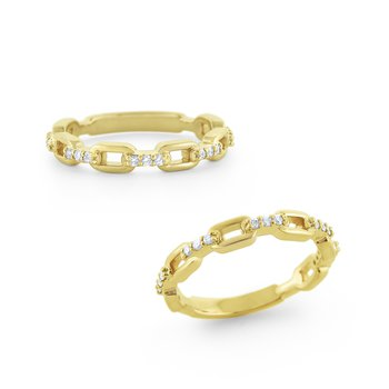 Diamond Chain Link Style Band Set in 14 Kt. Gold