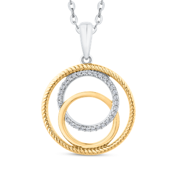 Round Cut Diamond Interlocking Circle Fashion Pendant