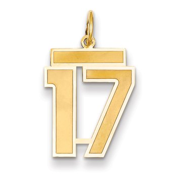 14k Medium Satin Number 17 Charm