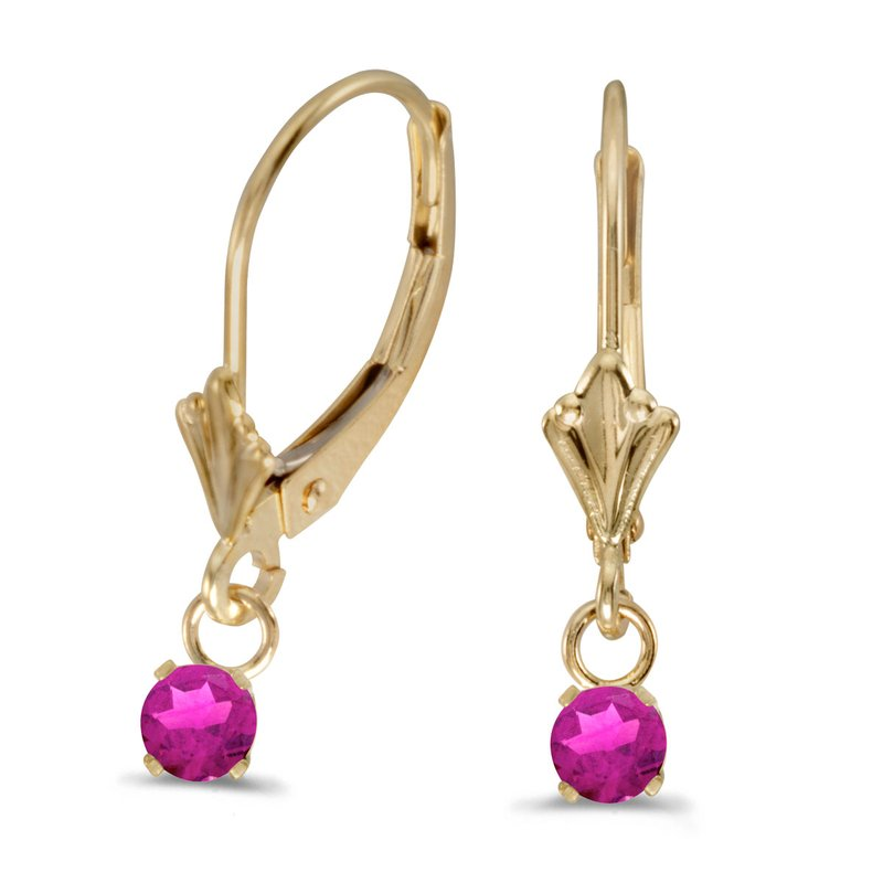 Color Merchants 14k Yellow Gold Round Pink Topaz Lever-back Earrings