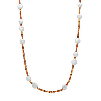 "Honora Sterling Silver 12-14mm White Coin Freshwater Cultured Pearls With Orange Chalcedonyx 36"" Necklace"