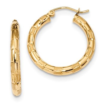 14k Polished, Satin & D/C Hoop Earrings