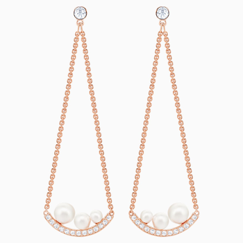 Major Pierced Earrings, White, Rose-gold tone plated