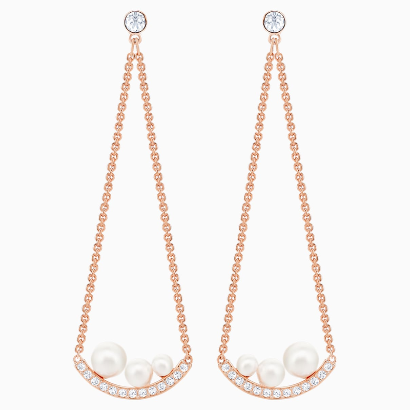 Swarovski Major Pierced Earrings, White, Rose-gold tone plated