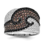 Quality Gold Sterling Silver Brilliant Embers Rhodium-plated CZ Ring