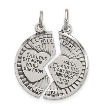 Sterling Silver Satin Antiqued 2-Piece Mizpah Pendant