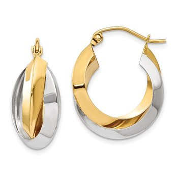 14k Two-tone Polished Knife-edge Double Hoop Earrings
