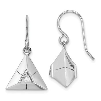 Sterling Silver Rhodium-plated Triangular Origami CZ Dangle Earrings