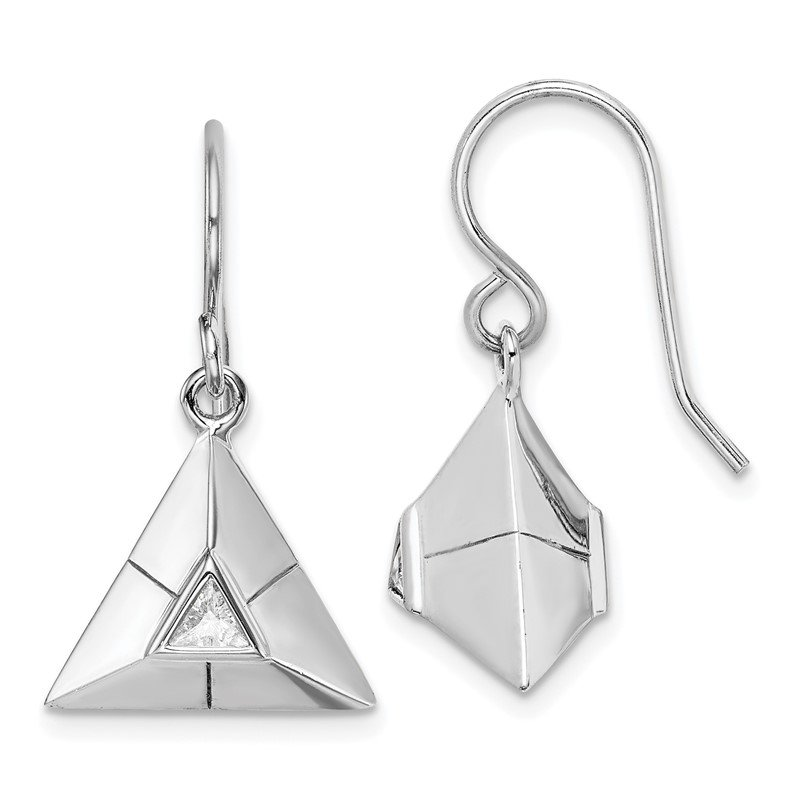 Quality Gold Sterling Silver Rhodium-plated Triangular Origami CZ Dangle Earrings