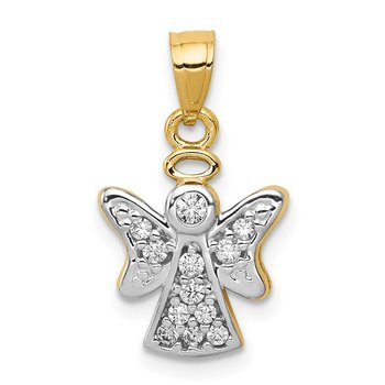 14k CZ w/Rhodium Angel Pendant