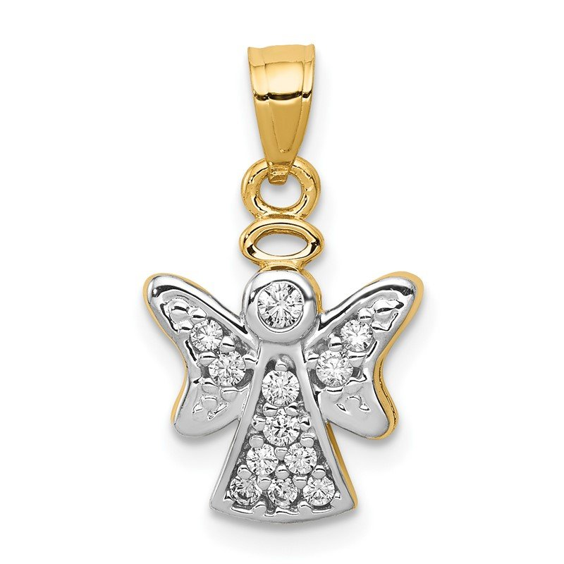 Quality Gold 14k CZ w/Rhodium Angel Pendant