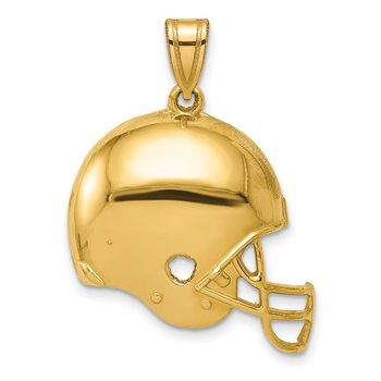 14k Polished Football Helmet Pendant