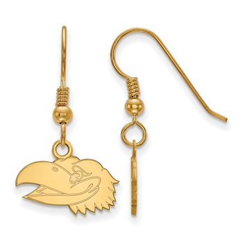 Gold-Plated Sterling Silver University of Kansas NCAA Earrings
