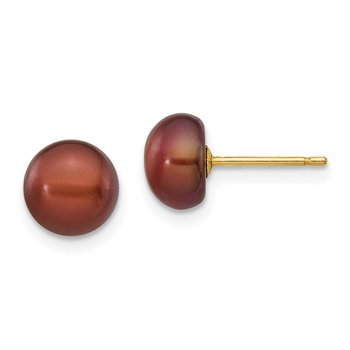 14k 7-8mm Coffee Button Freshwater Cultured Pearl Stud Post Earrings