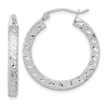 14k White Gold Satin & D/C Square Tube Hoop Earrings