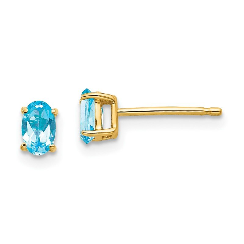 Quality Gold 14k 5x3mm Oval Blue Topaz earring