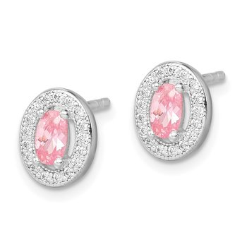Sterling Silver Rhod-plated Pink and White CZ Oval Stud Earrings