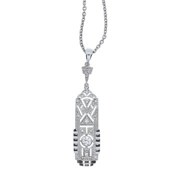 14K White Gold Art Deco Diamond Dangle Pendant (.20 carat)