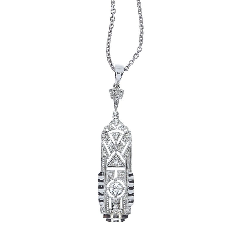 Color Merchants 14K White Gold Art Deco Diamond Dangle Pendant (.20 carat)