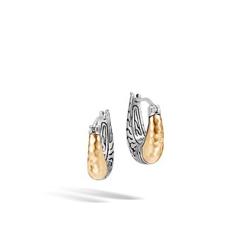 Classic Chain Hoop Earring in Silver and Hammered 18K Gold