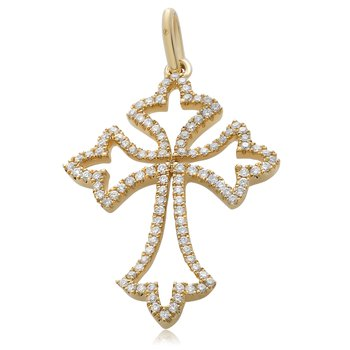 Yellow Gold & Diamond Cross Pendant