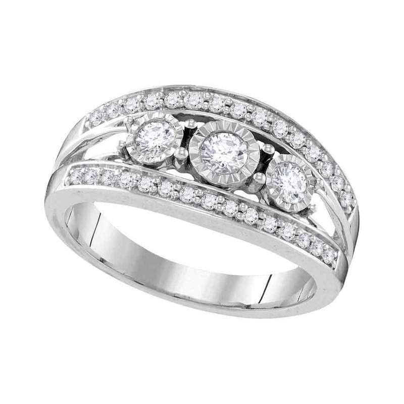Gold-N-Diamonds, Inc. (Atlanta) 10kt White Gold Womens Round Diamond 3-stone Bridal Wedding Engagement Ring 1/2 Cttw