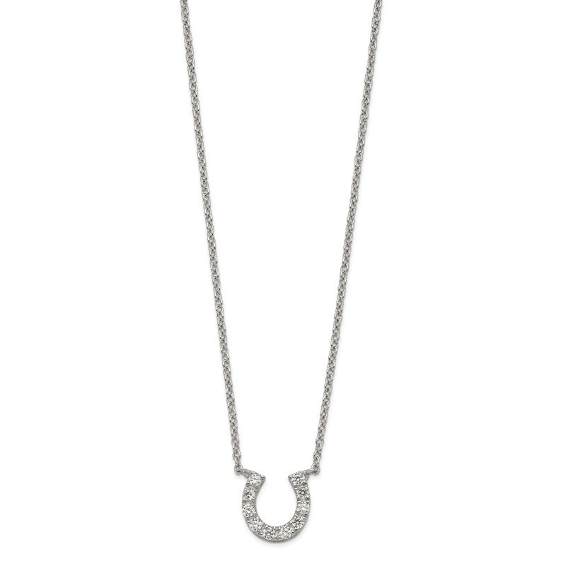 Quality Gold Sterling Silver CZ Horseshoe Necklace