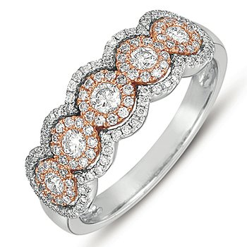 White & Rose Gold Fashion Ring
