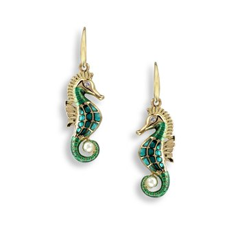 Green Seahorse Wire Earrings.18K -Diamonds and Akoya Pearl - Plique-a-Jour