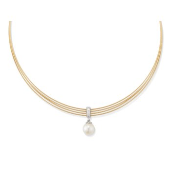 Yellow Cable Tiered Choker Necklace with 18kt White Gold & Pearl