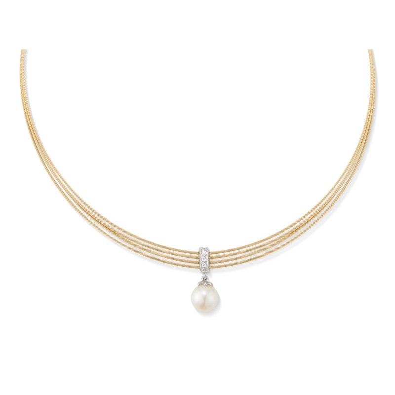 ALOR Catalog Yellow Cable Tiered Choker Necklace with 18kt White Gold & Pearl