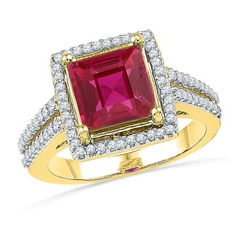 10kt Yellow Gold Womens Princess Lab-Created Ruby Solitaire Diamond Ring 1/3 Cttw