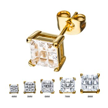 Stainless Steel and Gold Plated with Hashtag CZ Square Cut Stud Earrings