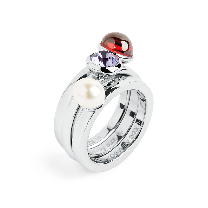Brosway 316L stainless steel, red garnet zircon, pearl and tanzanite Swarovski® Elements.