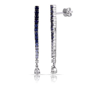 14K long drop Earrings 6 Diamonds 0.18C & 28 blue Sapphires 1.15C