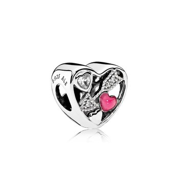 Struck By Love, Magenta Enamel & Clear CZ