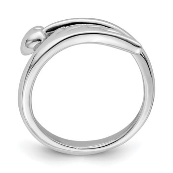 Sterling Silver Rhodium-plated Heart w/Wing Toe Ring