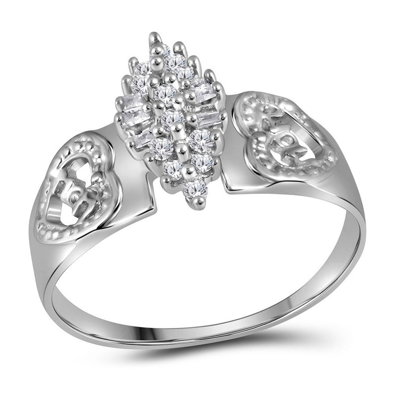 Kingdom Treasures Sterling Silver Womens Round Diamond Heart Mom Cluster Ring 1/8 Cttw