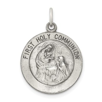 Sterling Silver Polished and Matte Finish Holy Communion Pendant