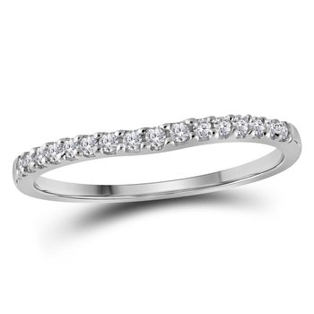 10kt White Gold Womens Round Diamond Single Row Contoured Wedding Band 1/6 Cttw