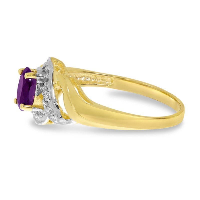 Color Merchants 10k Yellow Gold Oval Amethyst And Diamond Swirl Ring