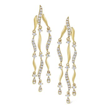 Diamond Wavy Triple Strand Earrings Set in 14 Kt. Gold
