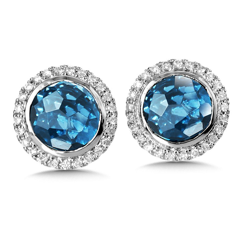 Colore Oro London Blue Topaz & Diamond Earrings in 14K White Gold