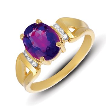 Amethyst.& Diamond Ring