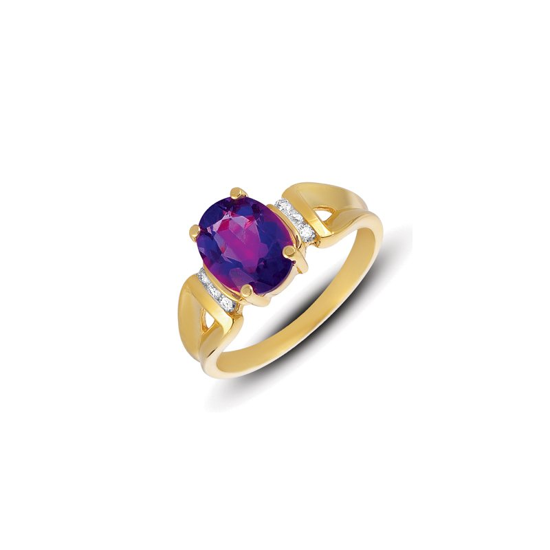 S. Kashi  & Sons Amethyst.& Diamond Ring