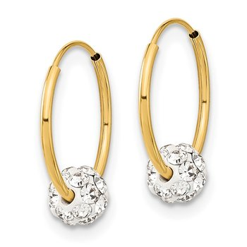 14k Polished Crystal and Resin Bead Endless Hoops