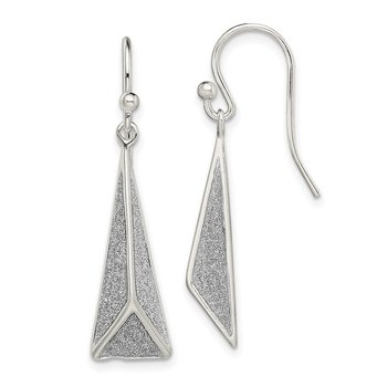 Sterling Silver Polished Enamel Glitter Fabric Triangle Earrings
