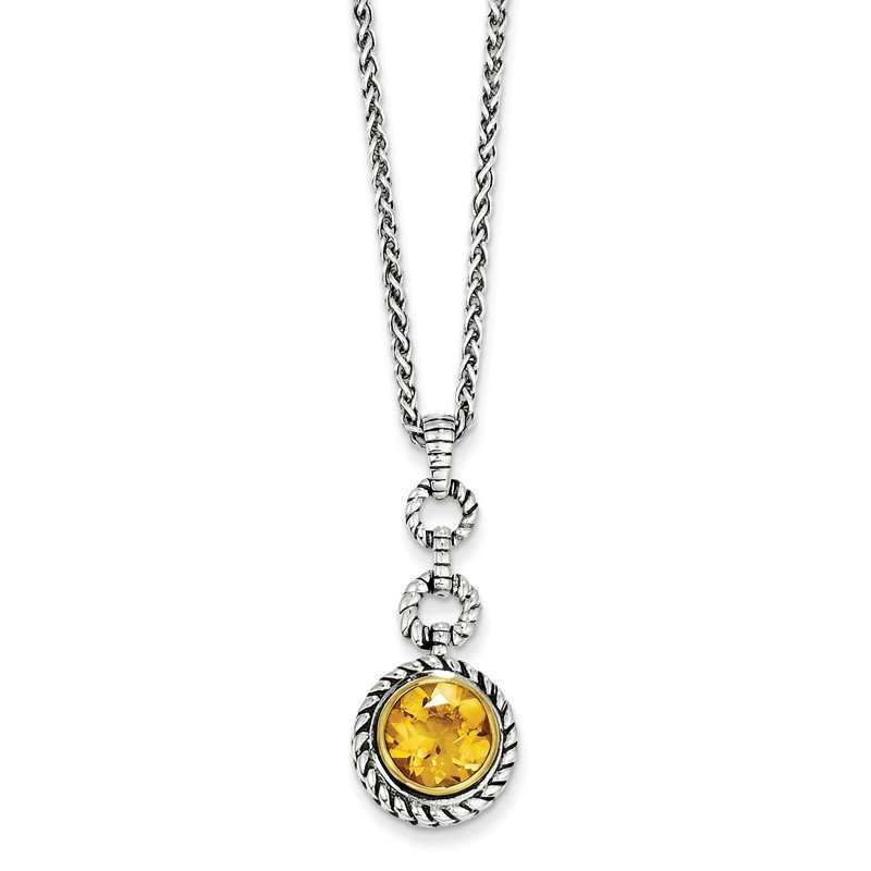 Shey Couture Sterling Silver w/Gold-tone Flash GP Citrine Necklace
