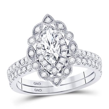 14kt White Gold Womens Marquise Diamond Bridal Wedding Engagement Ring Band Set 1-1/3 Cttw