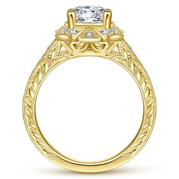 Art Deco 14K Yellow Gold Fancy Halo Round Diamond Engagement Ring